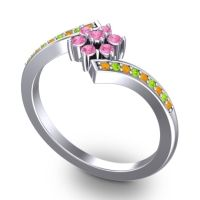 Simple Floral Pave Utpala Pink Tourmaline Ring with Citrine and Peridot in Palladium