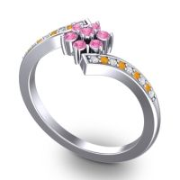 Simple Floral Pave Utpala Pink Tourmaline Ring with Diamond and Citrine in Palladium