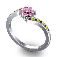 Simple Floral Pave Utpala Pink Tourmaline Ring with Garnet and Peridot in Platinum