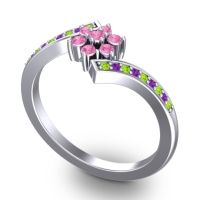 Simple Floral Pave Utpala Pink Tourmaline Ring with Peridot and Amethyst in Palladium