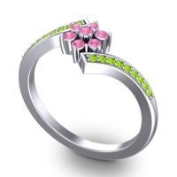 Simple Floral Pave Utpala Pink Tourmaline Ring with Peridot in Palladium