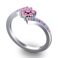 Simple Floral Pave Utpala Pink Tourmaline Ring with Swiss Blue Topaz in 18k White Gold