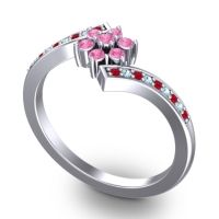 Simple Floral Pave Utpala Pink Tourmaline Ring with Ruby and Aquamarine in 14k White Gold