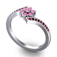 Simple Floral Pave Utpala Pink Tourmaline Ring with Ruby and Black Onyx in 18k White Gold
