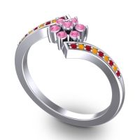 Simple Floral Pave Utpala Pink Tourmaline Ring with Ruby and Citrine in 18k White Gold
