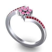 Pink Tourmaline Simple Floral Pave Utpala Ring with Ruby in 18k White Gold