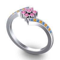 Simple Floral Pave Utpala Pink Tourmaline Ring with Swiss Blue Topaz and Citrine in Palladium
