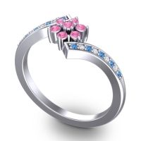 Simple Floral Pave Utpala Pink Tourmaline Ring with Swiss Blue Topaz and Diamond in 18k White Gold