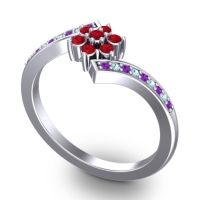 Simple Floral Pave Utpala Ruby Ring with Amethyst and Aquamarine in 14k White Gold