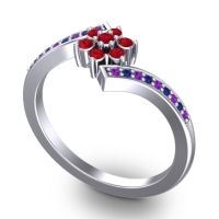 Simple Floral Pave Utpala Ruby Ring with Amethyst and Blue Sapphire in Platinum