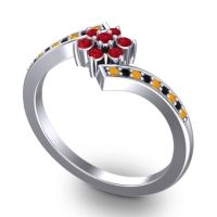 Simple Floral Pave Utpala Ruby Ring with Citrine and Black Onyx in 14k White Gold