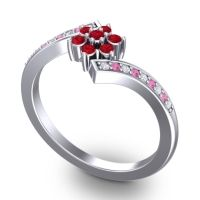 Simple Floral Pave Utpala Ruby Ring with Diamond and Pink Tourmaline in 14k White Gold