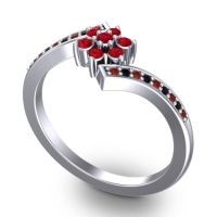 Simple Floral Pave Utpala Ruby Ring with Garnet and Black Onyx in 14k White Gold