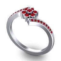 Simple Floral Pave Utpala Ruby Ring with Garnet in 18k White Gold