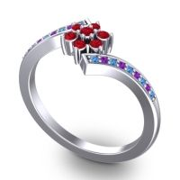 Simple Floral Pave Utpala Ruby Ring with Swiss Blue Topaz and Amethyst in 18k White Gold