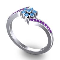 Simple Floral Pave Utpala Swiss Blue Topaz Ring with Amethyst in 18k White Gold