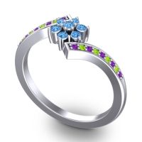 Simple Floral Pave Utpala Swiss Blue Topaz Ring with Amethyst and Peridot in Platinum
