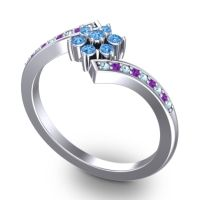 Simple Floral Pave Utpala Swiss Blue Topaz Ring with Aquamarine and Amethyst in 14k White Gold