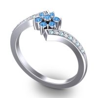 Simple Floral Pave Utpala Swiss Blue Topaz Ring with Aquamarine and Diamond in 14k White Gold