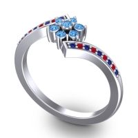 Simple Floral Pave Utpala Swiss Blue Topaz Ring with Blue Sapphire and Ruby in Palladium