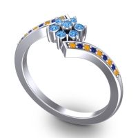 Simple Floral Pave Utpala Swiss Blue Topaz Ring with Citrine and Blue Sapphire in Platinum