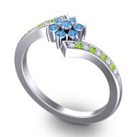 Simple Floral Pave Utpala Swiss Blue Topaz Ring with Diamond and Peridot in 14k White Gold