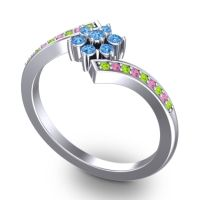Simple Floral Pave Utpala Swiss Blue Topaz Ring with Peridot and Pink Tourmaline in Palladium