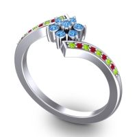 Simple Floral Pave Utpala Swiss Blue Topaz Ring with Peridot and Ruby in 14k White Gold
