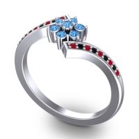 Simple Floral Pave Utpala Swiss Blue Topaz Ring with Ruby and Black Onyx in Palladium
