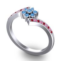 Simple Floral Pave Utpala Swiss Blue Topaz Ring with Ruby and Pink Tourmaline in Palladium