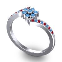 Simple Floral Pave Utpala Swiss Blue Topaz Ring with Ruby in Palladium