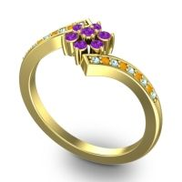 Simple Floral Pave Utpala Amethyst Ring with Aquamarine and Citrine in 14k Yellow Gold