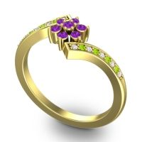 Simple Floral Pave Utpala Amethyst Ring with Diamond and Peridot in 14k Yellow Gold