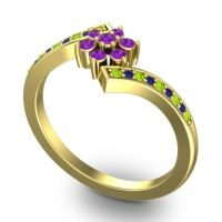 Simple Floral Pave Utpala Amethyst Ring with Peridot and Blue Sapphire in 14k Yellow Gold