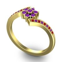 Simple Floral Pave Utpala Amethyst Ring with Ruby in 14k Yellow Gold
