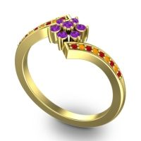 Simple Floral Pave Utpala Amethyst Ring with Ruby and Citrine in 14k Yellow Gold