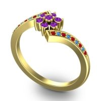 Simple Floral Pave Utpala Amethyst Ring with Ruby and Swiss Blue Topaz in 14k Yellow Gold