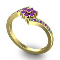 Simple Floral Pave Utpala Amethyst Ring with Swiss Blue Topaz in 14k Yellow Gold