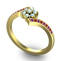 Simple Floral Pave Utpala Aquamarine Ring with Amethyst and Ruby in 14k Yellow Gold