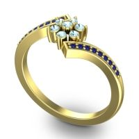 Simple Floral Pave Utpala Aquamarine Ring with Blue Sapphire in 14k Yellow Gold