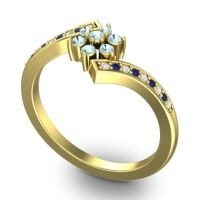 Simple Floral Pave Utpala Aquamarine Ring with Diamond and Blue Sapphire in 14k Yellow Gold