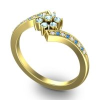Simple Floral Pave Utpala Aquamarine Ring with Diamond and Swiss Blue Topaz in 14k Yellow Gold