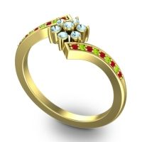Simple Floral Pave Utpala Aquamarine Ring with Ruby and Peridot in 18k Yellow Gold