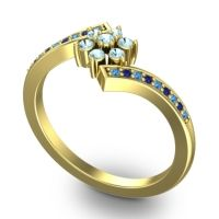 Simple Floral Pave Utpala Aquamarine Ring with Swiss Blue Topaz and Blue Sapphire in 14k Yellow Gold