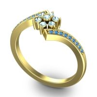 Simple Floral Pave Utpala Aquamarine Ring with Swiss Blue Topaz in 14k Yellow Gold