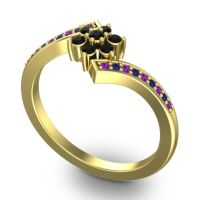 Simple Floral Pave Utpala Black Onyx Ring with Amethyst and Blue Sapphire in 14k Yellow Gold