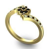 Simple Floral Pave Utpala Black Onyx Ring with Aquamarine in 14k Yellow Gold