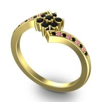 Simple Floral Pave Utpala Black Onyx Ring with Pink Tourmaline in 14k Yellow Gold