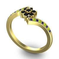 Simple Floral Pave Utpala Black Onyx Ring with Blue Sapphire and Peridot in 18k Yellow Gold