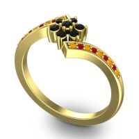 Simple Floral Pave Utpala Black Onyx Ring with Citrine and Ruby in 14k Yellow Gold